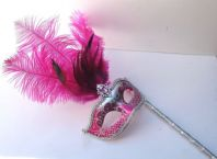 Pink and Silver Feather Mask on a Stick